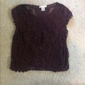 Lace Maroon Crop Top from Say What?